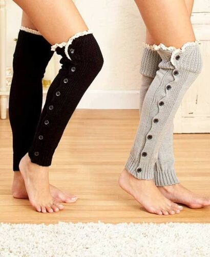Over-the-Knee Legwarmers with Buttons /& Lace Charcoal Gray in color