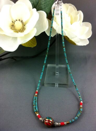 1 Choker Necklace Tibetan Charm Pendant 8 Colorways 44 cm Gypsy Surf Jewelry