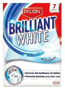 Dylon-Brilliant-White-Laundry-Fabric-Cloths-Whitener-Revives-Freshens-7-Sheets