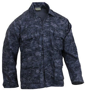 5751 Militare Camouflage Bdu Digitale Navy Camo Stile Rothco Camicia Blu Giacca 4fqAx77