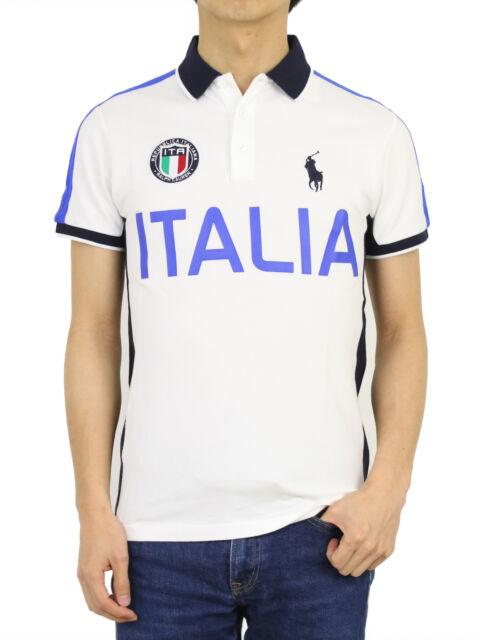 Ralph Lauren Men's ITALIA Italy Polo Shirt Custom Slim Fit White Size 2xl