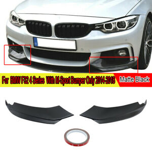 2x For BMW F32 F33 F36 435i M Sport 14-17 Front Bumper Lip Splitters Gloss Black