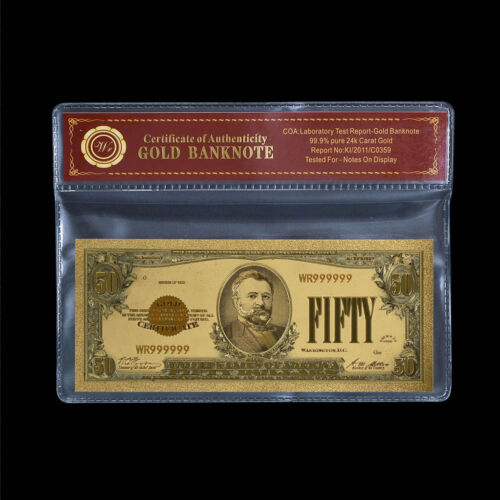 WR Fifty Dollars 1928 Gold Certificates Colored Gold US Banknote $50 Paper Money