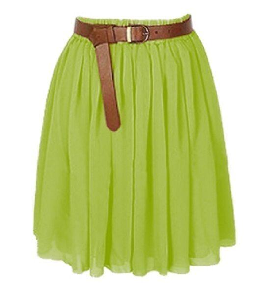 Turquoise Chiffon Women Girl Short Mini Dress Skirt Pleated Retro Elastic Waist