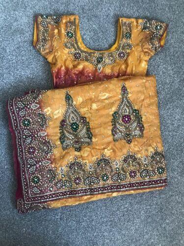giallo ricamati da partito Due abito Indiani seni indiani completamente e rosa sposa 7qwxwzTUp