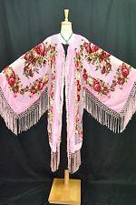 Art to Baby Pink Flower Burnout Velvet Fringe Kimono Coat Duster Jacket Long