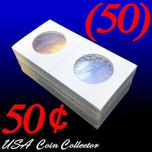 50-Half-Dollar-Size-2x2-Mylar-Cardboard-Coin-Flips-Storage-50-Cent-Holders