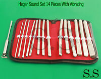 Hegar Flat Ended Urethral Sound Set 14 Pieces With Vibrating Urethral Sound