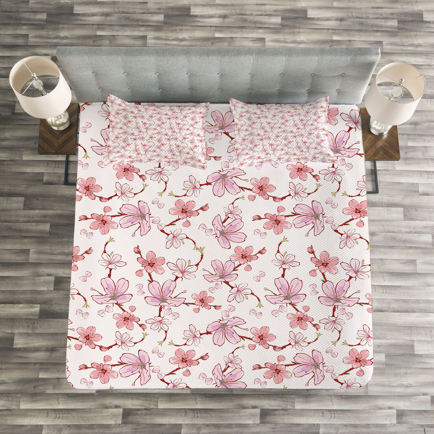 Asian Quilted Bedspread & Pillow Shams Set, Japanese Cherry Blooms Print