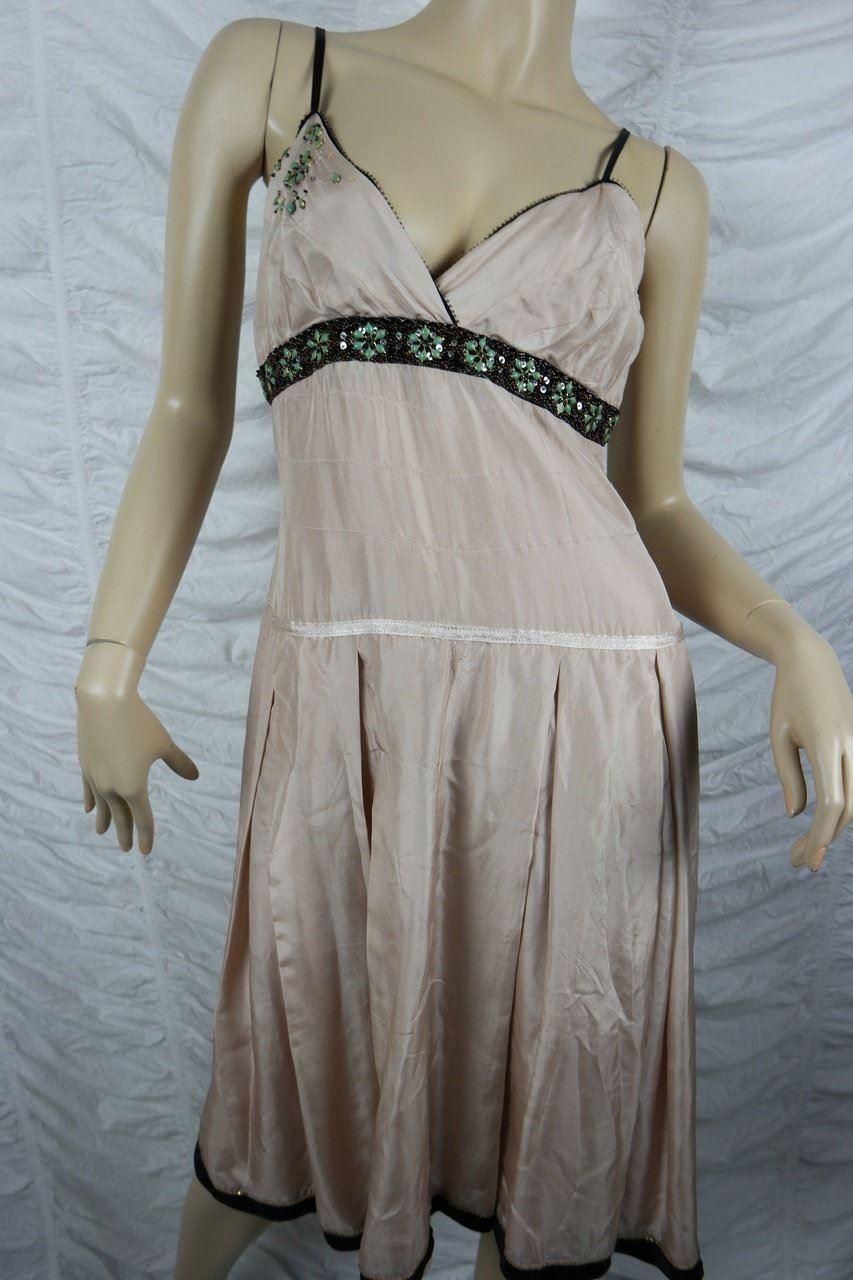 TABLE EIGHT dusty Rosa 100% silk empire waist cocktail dress Größe 12 EUC