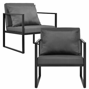 2x gartenstuhl gartensessel schwarz outdoor garten lounge sessel ebay