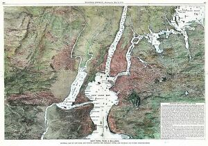 MAP-ANTIQUE-1871-HARPER-039-S-WEEKLY-NEW-YORK-FROM-BALLOON-REPLICA-PRINT-PAM1898