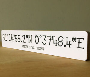 11x2 5 personalised home coordinates sign plaque anniversary art