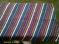 """Blue, Black, Green, White and Red  stripe  fabric remnant    13.5""""x 14ft 4"""""""