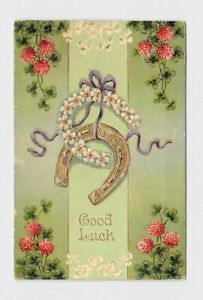 ANTIQUE-POSTCARD-GOOD-LUCK-CLOVER-HORSE-SHOES-RIBBON-GOLD-EAS-EMBOSSED