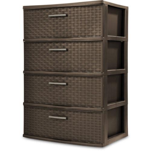 4 Drawer Organizer Wide Storage Cart Bin Container Set Of 2 Plastic Espresso