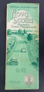 1951 Nova Scotia official road map Province state highway Canada