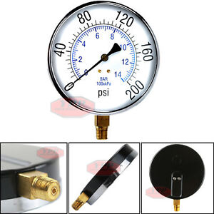 Large-4-5-034-200-PSI-Air-Compressor-Tank-Pressure-Gauge-1-4-034-Male-NPT-Threads