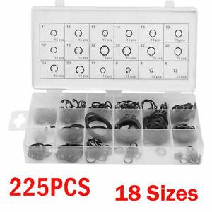 225Pcs Internal /& External Snap Retaining Ring Circlip Assortment Set 18 Sizes