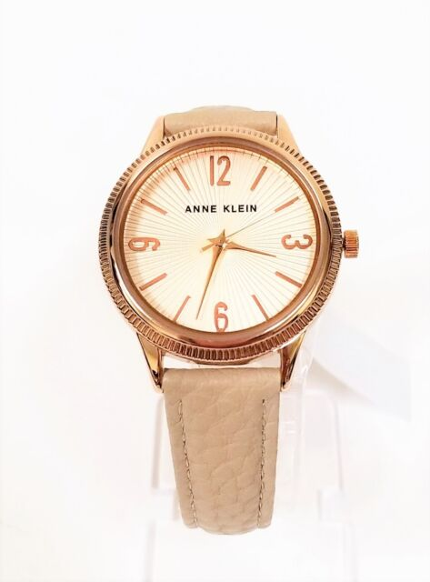 Anne Klein Rose Gold Tone Beige Taupe Leather Band Watch Ak 0317sstp