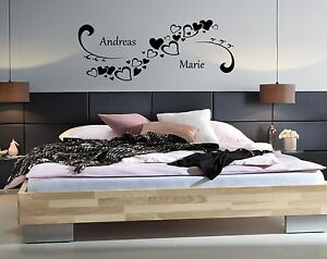 wandtattoo schlafzimmer individuell mit namen hochzeit. Black Bedroom Furniture Sets. Home Design Ideas