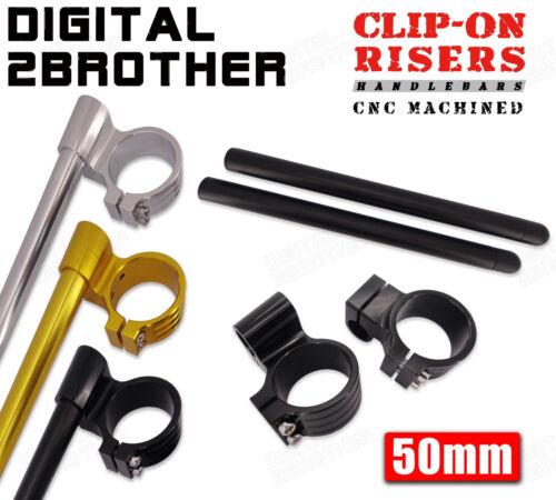 "Billet 50mm 1/"" Raised Clip-On Handlebars For Suzuki GSXR1000 K1 K7 K9 01-14"