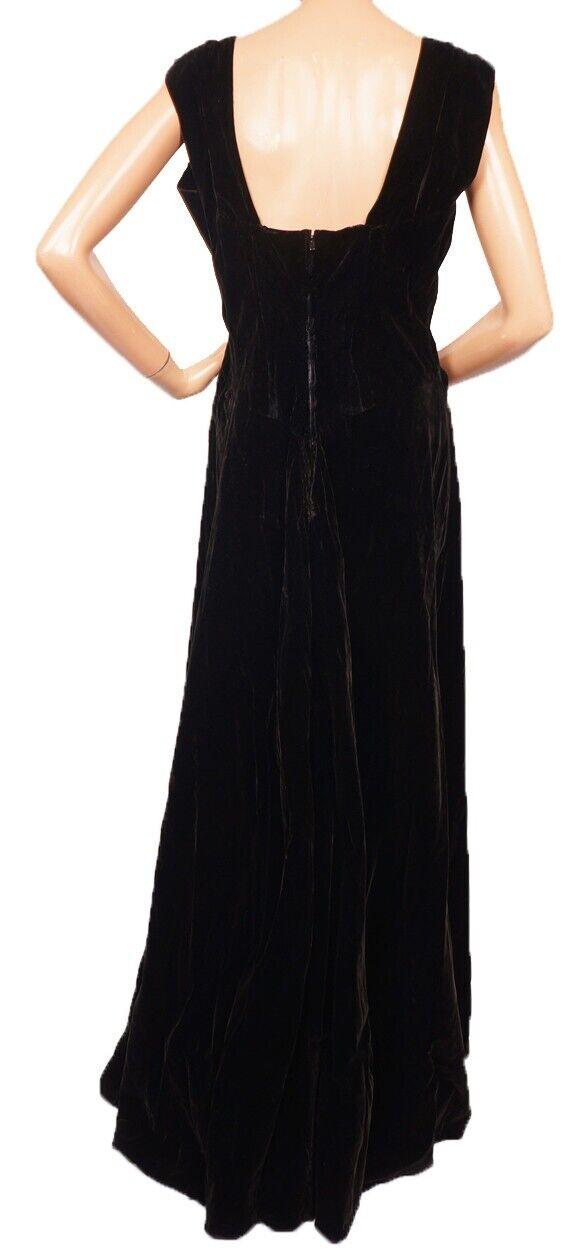 Vintage Molyneux Black Velvet Evening Gown 1930s … - image 4