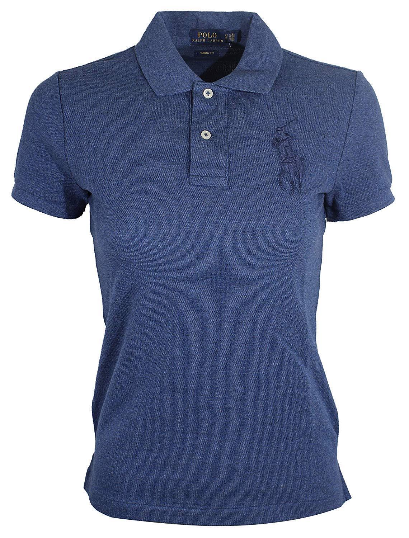 Ralph Lauren Women's Big Pony Skinny Fit Mesh Polo Shirt Cobalt bluee