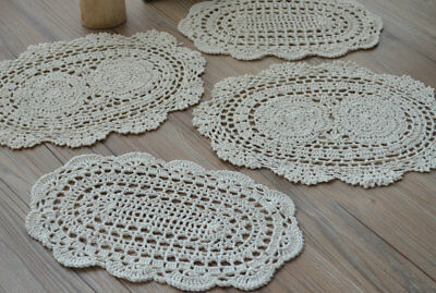 """Lot 4 Crochet Cream Doilies 14/"""" Oval French Country"""