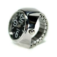 Watch Ring Finger Stretch Band Chrome Time Jewelry Large Number Black Gift