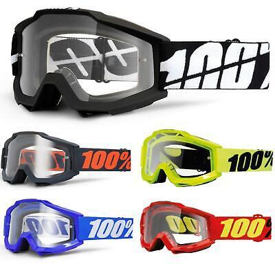 100% Accuri Otg Goggle Occhiali Chiaro Dh Mtb Mx Downhill Per Occhiali Travi- Crease-Resistenza