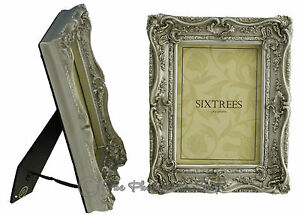 TWO-Shabby-amp-Chic-Vintage-Very-Ornate-Antique-Silver-Photo-frames-7-034-x5-034-Picture