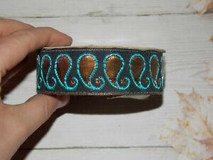 45mm bronze gold pink turquoise metallic embroidered ribbon applique trim Indian