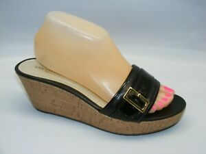 Ann-Taylor-Women-039-s-Brown-Size-9-M-Low-Wedge-Slides-Mules-Sandals-Shoes-Buckle