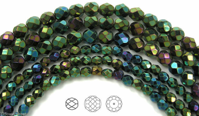 "Czech Fire Polished Round Faceted Beads in Jet Green Iris coated, 16"" strand"