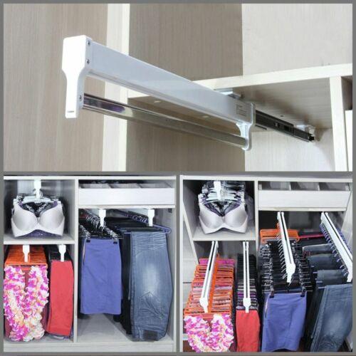 Pull-Out Closet Valet Rod Adjustable Wardrobe Clothing Rail Top Hanger Rack Bar
