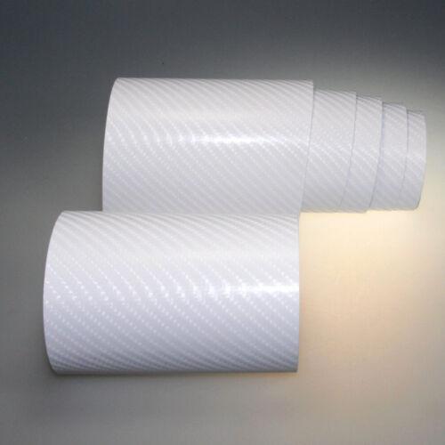 6,57€//m² 4D Carbon 1m x1,52m Auto Folie Weiß Glanz Luftkanal Autofolie 3D Flex