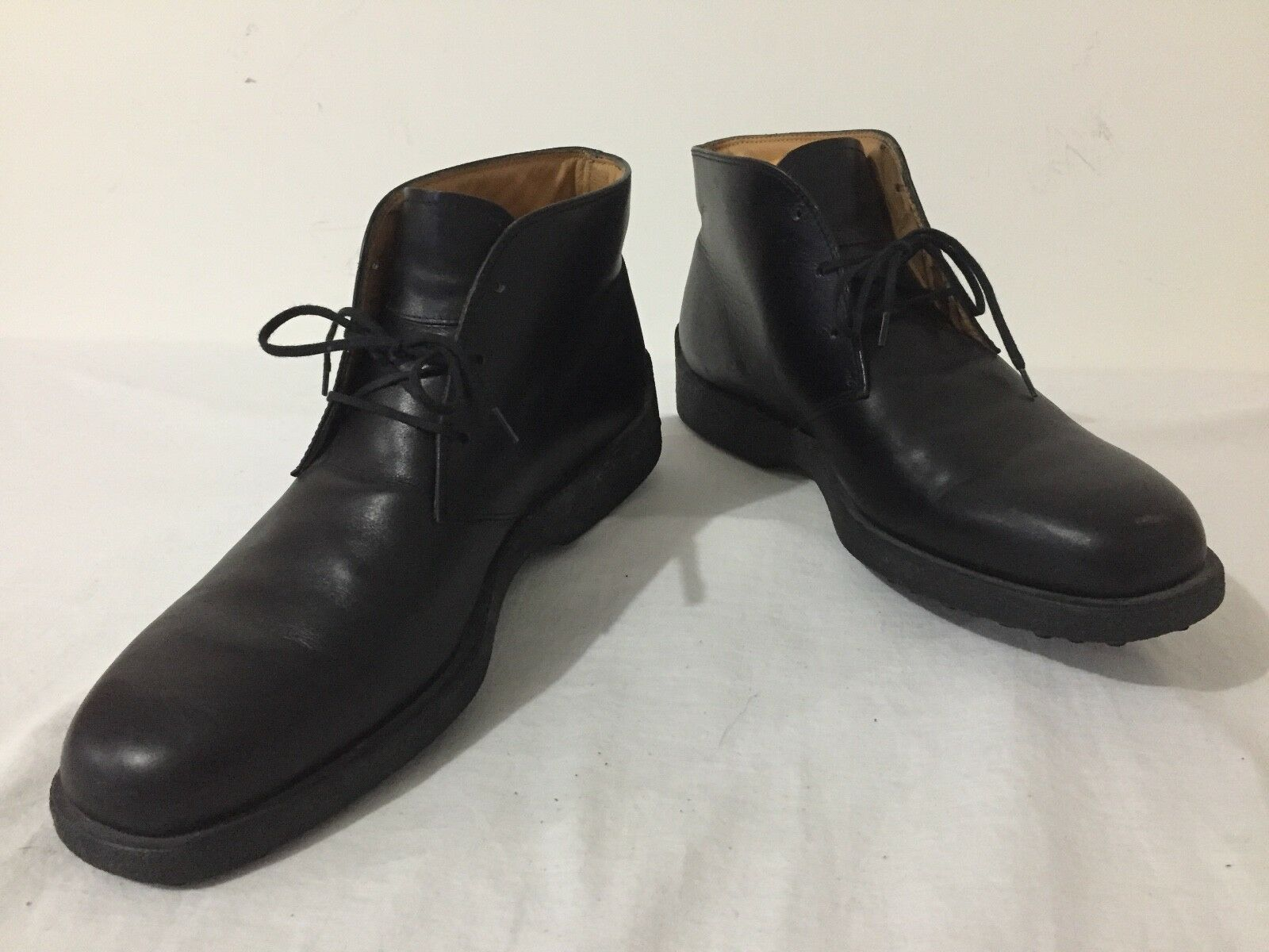 TOD'S Ankle Boots Black Leather Marked Size 10 UK (US 11)