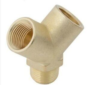 """X3 MFY02 Brass Equal 'Y' Branch Fitting BSPT Male 1/8"""" x BSPP Female 1/8"""" pack 3"""