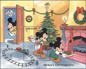 Grenada-1988-DISNEY-Natale-Mickey-ALBERO-Treno-Giocattoli-cartoni-animati-1v-M-S-b413p