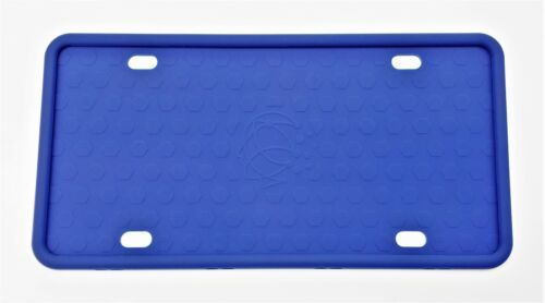 Silicone License Plate Frame Anti-Rattle with Installation Screws BLUE ONE