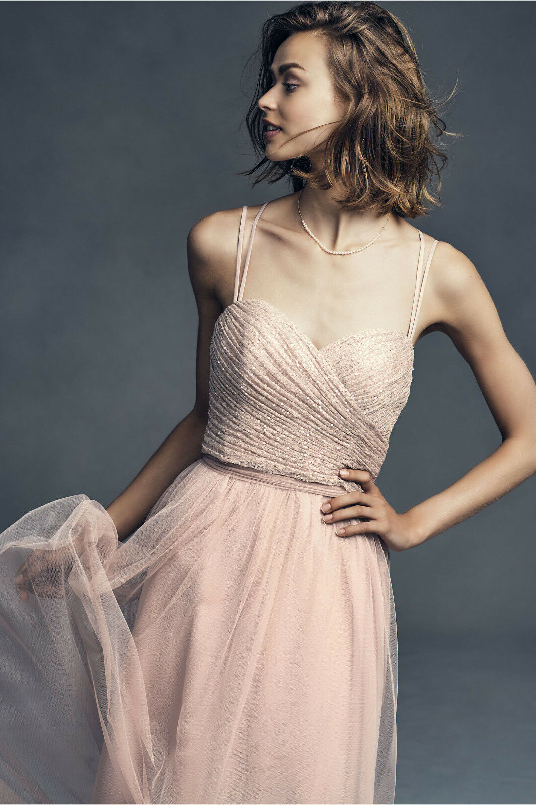 NEW ANTHROPOLOGIE BHLDN  pinkWOOD ISADORE DRESS SEQUIN GOWN BY WATTERS SZ 18