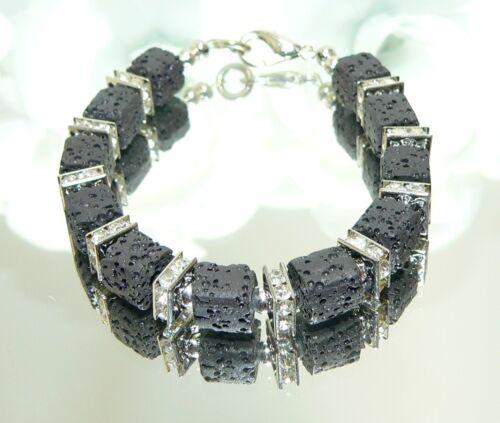 Armband Würfel Lava Strass schwarz silber Modeschmuck  304L