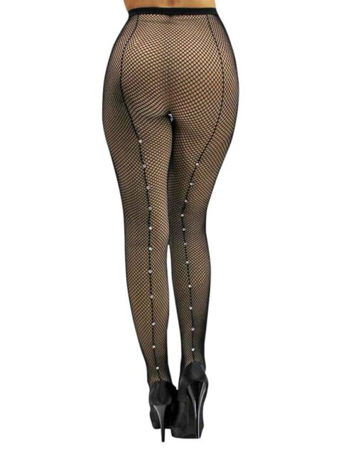 8055706623d Black Fishnet Back Seam Hosiery Tights With Rhinestones for sale online