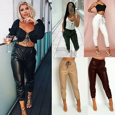 Womens Faux Leather High Waist Joggers Jogging  Ladies Bottoms Pants PU Trousers