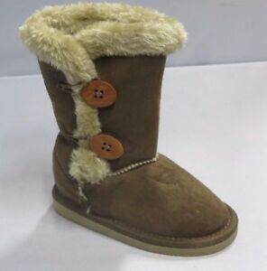 T708k Girl Winter Classic Boots w//Buttons Kid Size Brown Khaki Camel