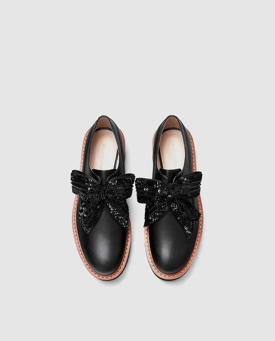 Zara donna Platform Derby scarpe With Bows Dimensione 9 EU 40 NWT
