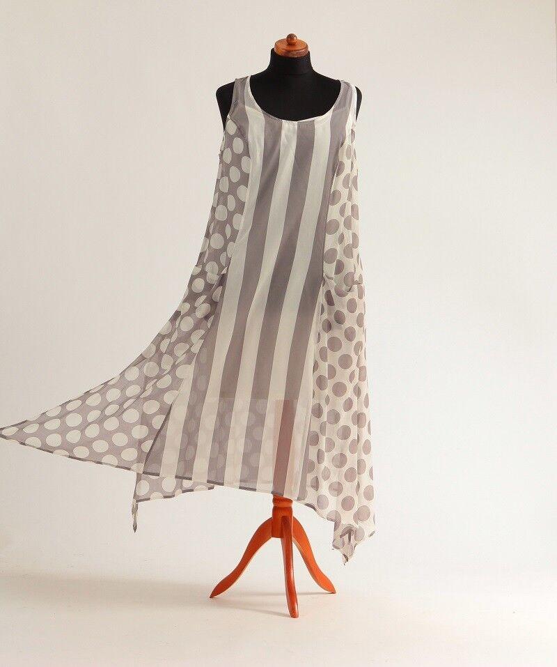 Chalona -Seide Baumwolle - Kleid mit Unterkleid -Größe 3 - - - Farbe Wollweiß Taupe b8f33b