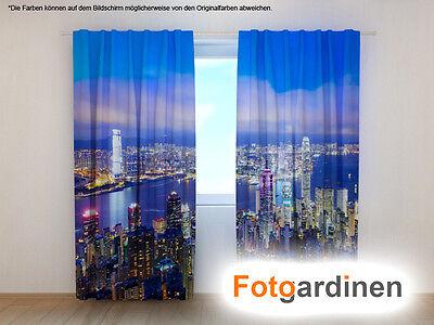 """Fotogardinen """"HongKong"""" Vorhang 3D Fotodruck, Fotovorhang, Maßanfertigung"""