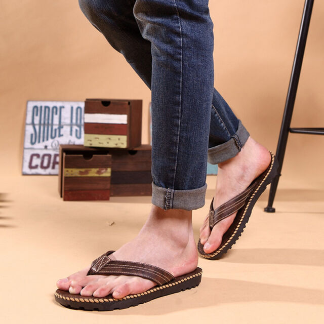 Men's Anti-slip Flat Flip Flops Sandals Summer Beach Casual Slippers PU Shoes